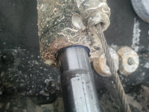 Crevice corrosion and pitting on BCS trim tab shaft